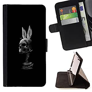 BullDog Case - FOR/LG OPTIMUS L90 / - / BUNNY BLACK WHITE FUNNY SKULL /- Monedero de cuero de la PU Llevar cubierta de la caja con el ID Credit Card Slots Flip funda de cuer
