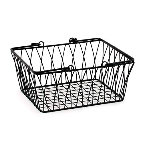 Spectrum Diversified Twist Wire Storage Basket, Medium, Black (Metal Handles With Small Baskets)