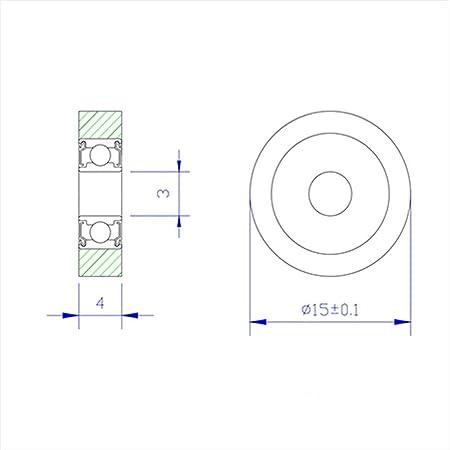 4 Pcs NO-LOGO Durable Bearing PU 623 Polyurethane Covered Bearing Shaft 3mm PU62315-4 Urethane Cover PU623 3x15x4mm Bearings