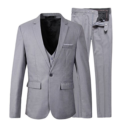 Benibos Men's Slim Fit Suit Blazer Jacket Tux Vest Pants 3 Pieces Suit Set (B305 M, Light Grey)