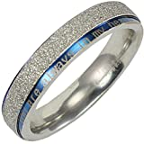 "Stainless Steel Blue and Silver-Tone ""You are always in my heart"" 4mm Band Ring - Women"