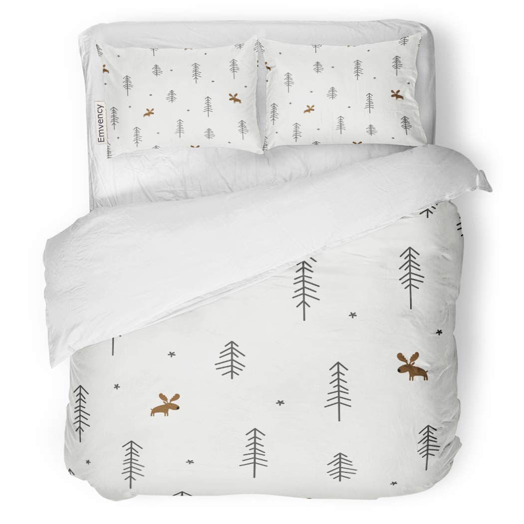SanChic Duvet Cover Set Pattern of Winter Forest Moose Christmas Woods Deer Decorative Bedding Set with Pillow Sham Twin Size