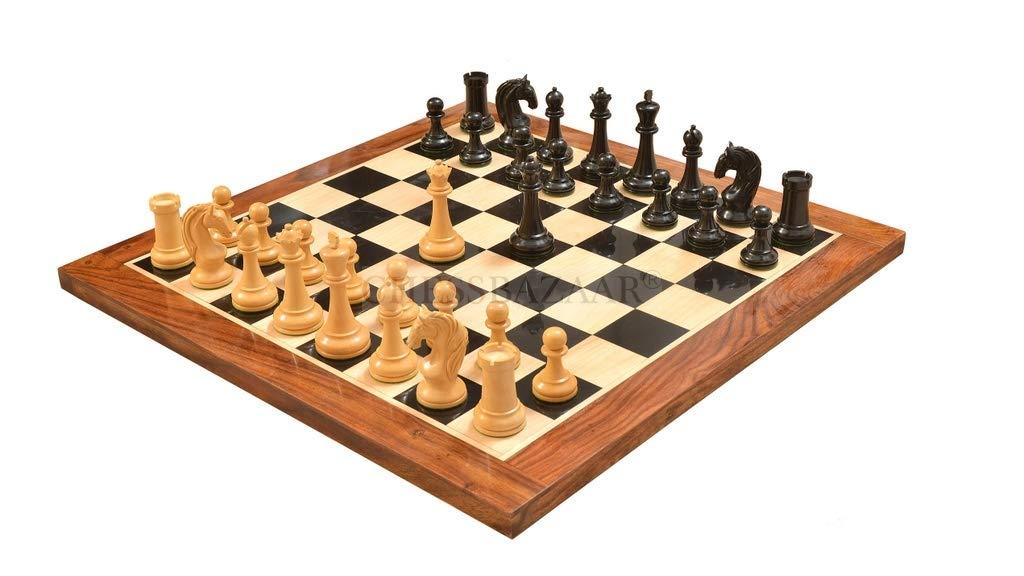 2019年激安 Chessbazaar Combo B076BM367N of Reproduced 1963-1966 Piatigorsky Piatigorsky Combo Cup Chess Set with Wooden Board in Ebony/ Box Wood - 4.2