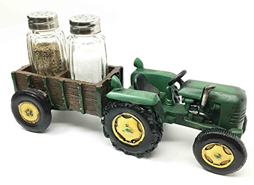 Vintage Country Side Farm Tractor With Wagon Salt Pepper Shakers Holder Figurine ()