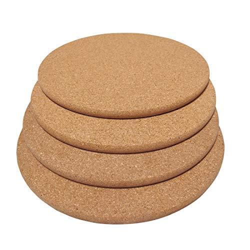 Cork Trivets (Kitchen Heat Mat), Round Trivet, Hot Pot Holder, Pads for Kitchen,9-Inch Each (4, Round-9-Inch)