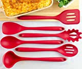 x large fry pan - StarPack Home Silicone Kitchen Utensil Set with 101 Cooking Tips, X-Large, 13.5-Inch (6 Piece Set) - Cherry Red