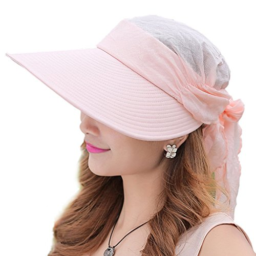 WITERY Women Two Way Folding Wide Brimmed Sun Protective Hat Cap Fashion Reversible Sun Hat UPF 50+ Pink