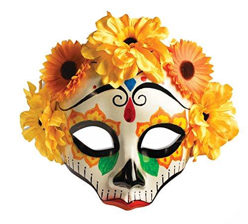 [F74716 Day Of The Dead Flowered Skull Female] (Day Of The Dead Female Mask)