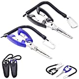 MarsGlider 2 Stainless Steel Bite Fishing Pliers Hook Remover with Sheath Lanyard (Pack of 2)