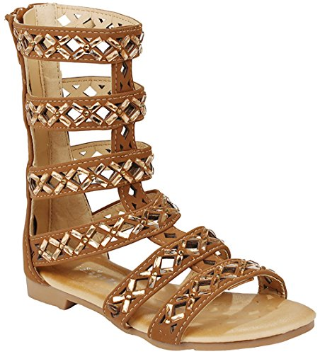 JJF Shoes Girls Kids Rome Tan Rhinestone Cut Out Strappy Gladiator Roman Comfort Mid Calf Flat Sandals-4 Big Kids Tan Apparel