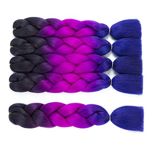 Callia 5 Pac/Lot Synthetic Braiding Hair Kanekalon Hair Ombre Braids hair 24 inch High Temperature Hair Extensions (Dark-Darkmagenta-Darkblue) -