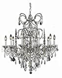 Athena Collection 10-Light Pewter Fix With Golden Teak Smoky Swarovski Strass Crystal