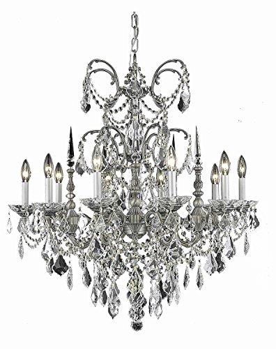 Royal Cut Smokey Gold Teak Crystal Athena Single Tier 10 Light Pewter Crystal Chandelier ()