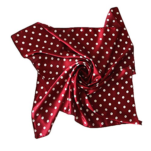 Polka Dot Square Small Neck Scarf Women Satin Bracelet Head Band Bandana 60cm (Red Polka Dot Satin)