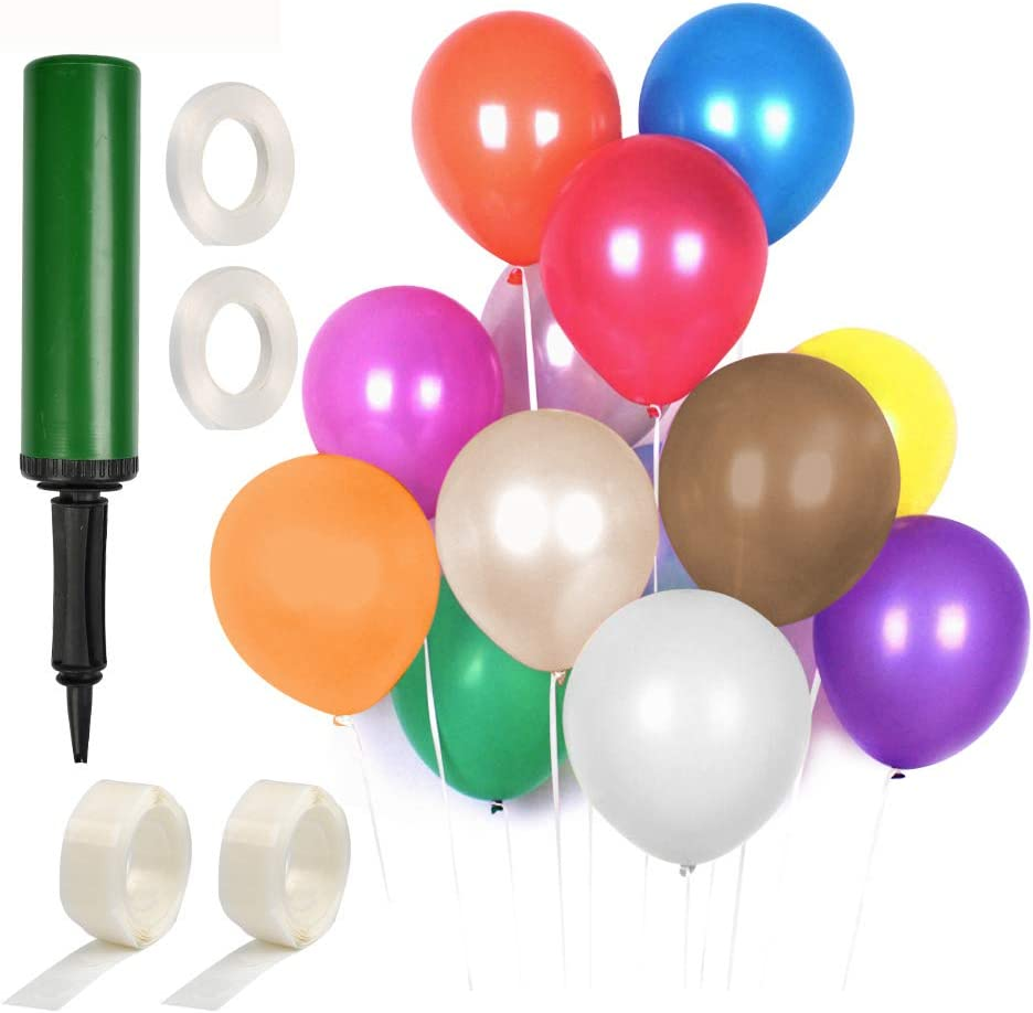 Festival Baby Shower YANSHON 120Pcs 12 Colourful Latex Balloons with Pump Party Decoration Birthday Party Assorted Colour Party Balloons with Balloon Dot Sticker and Balloon Ribbons for Wedding