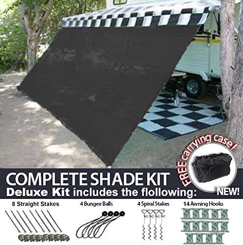 RV Awning Shade Motorhome Patio Sun Screen Complete Deluxe Kit Black 10 x14