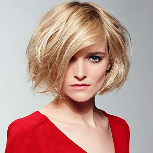 Queentas Styling Blonde Pixie Cut Wig Medium Length Wavy Layered Hair Natural Looking Synthetic Full Wigs With Bangs for White Woman(Blonde -