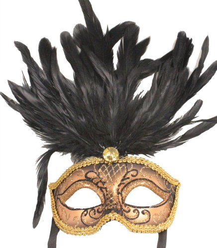 RedSkyTrader Womens Feathered Sparkling Mask One Size Fits Most Black And Copper (Feathered Masquerade Mask)
