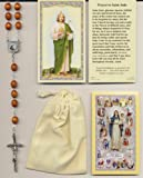 Saint Jude Brown Relic Rosary with Two Holy Cards, Velour Bag and Cross Bookmark Patron of Difficult Situations