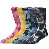 Epeius Unisex Tie Dye Athletic Socks Elite Cushioned Crew Socks 5 Pair Pack