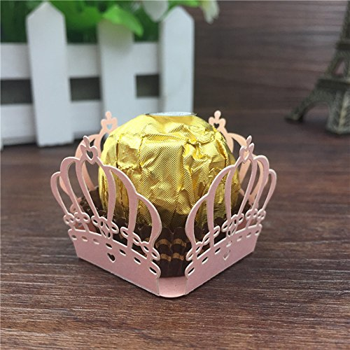 50pcs Crown Prince Paper Candy Bar Chocolate Packaging Bar Laser Cut Birtday Decoration Kids Party Supplies Wedding Decoration by Sopeace (Pink)]()