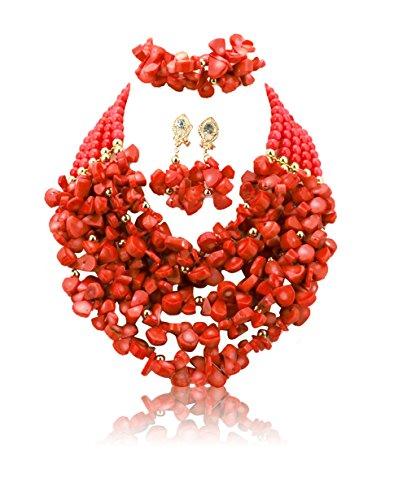Rouge 5couches Chunky complet du Nigeria perles bijoux de mariage rouge africain perles bijoux perles de corail-Collier Femme-Jeux