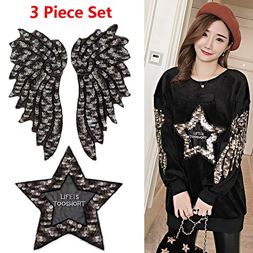 Gold Sequin Angel Wing Patches with Star Embroidered Applique Patches DIY Costume Cloth Decoration Sew on Patches for Jackets T-Shirt Clothes Backpack (3 Piece Set) -