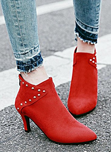 Aisun Womens Studded Faux Suede Dressy Zip Up Pointed Toe Ankle Boots Stiletto Kitten Heel Booties With Studs Red ewc3Ta