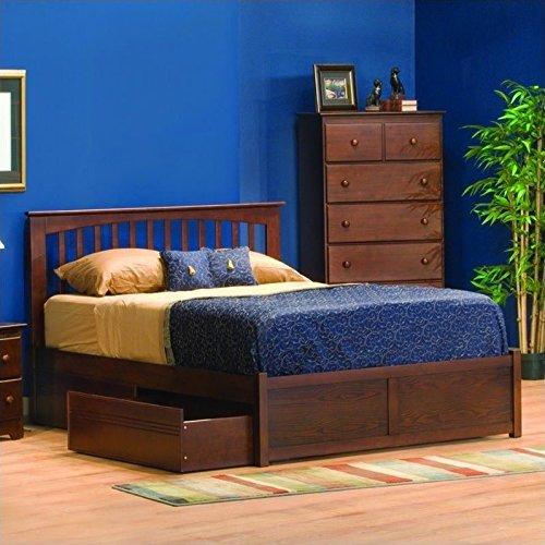 Atlantic Furniture Brooklyn Platform Bed w Trundle in Antique Walnut