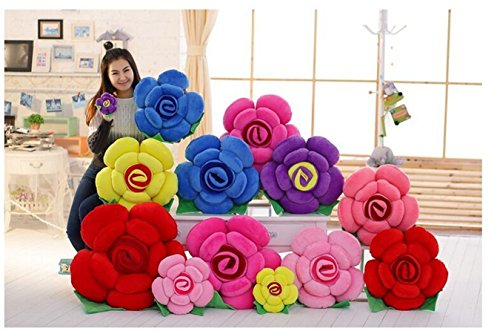 Soft Lovely Novelty Colorfull Rose Flower Shape Bed Sofa Chair Car Seat Nap Throw Cushion Lumbar Pillow Lover Wedding Gift Present Party Decor Toy (40cm, rose red)