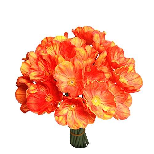 Mandy's 30pcs Orange Poppy Artificial Flower for Wedding Home & Kitchen PU 12.5