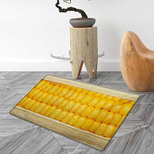 Health Door Mats for Inside Corn Cob Stem with Raindrops Water Marks Mexican Vegetable Photo Artwork Image Bath Mat for tub Bathroom Mat 30