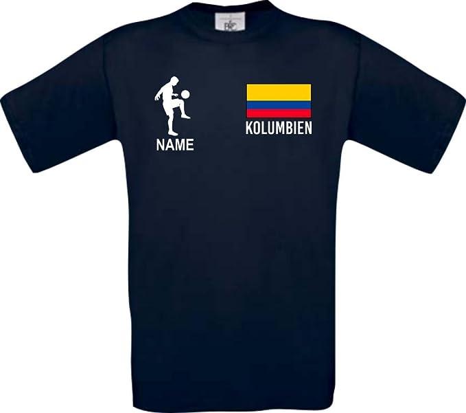 Shirtstown Camiseta De Niño Camiseta de Fútbol Colombia Hungría con Su Nombre Deseado Estampado - Azul