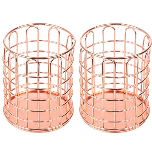 Gold Finished Holder Pen - 2 Pcs of Round Pen Cups, Abuff Rose Gold Wire Metal Desktop Pencil Holder Desk Organizer for Desk Office and School