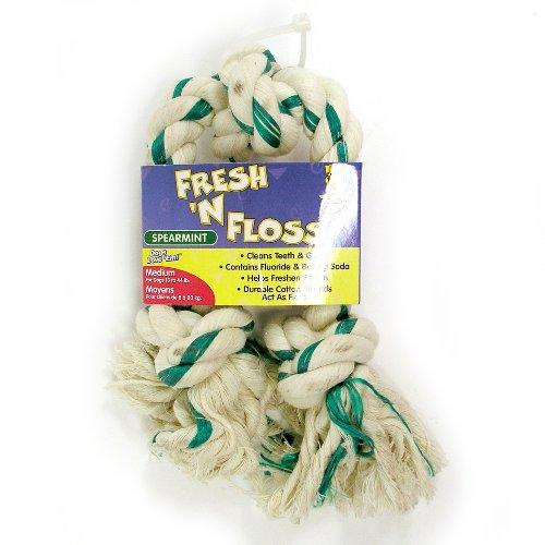 Booda Fresh N Floss 3 Knot Tug Rope Dog Toy, Medium, Spearmint, My Pet Supplies