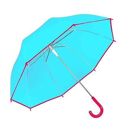 Paraguas transparente más grueso aumento de la manija larga automática de los hombres y las mujeres