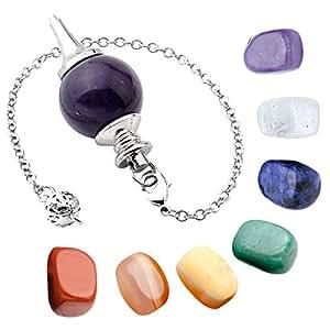 Top Plaza 7 Chakra Healing Crystal Tumbled Palm Stones And Natural Amethyst Dowsing Pendulum Reiki Balance Meditation Jewelry Sets(Round Bead Pendulum#1)