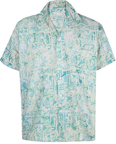 La Leela* Arbre Aloha Hommes en Coton Bouton Hawaiien Vers le Bas Vert Clair Chemise Tropicale Ver