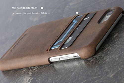 "Blumax iPhone 8 iphone 7 Ledercase Premium Echtleder Vintage Ledertasche 4,7"" Zoll in Antik-Braun"