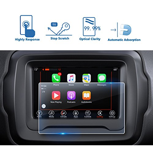 2018 Jeep Renegade 7 Inch Center Touch Screen Protector, LFOTPP Tempered Glass In-Dash Clear Screen Protector by LFOTPP