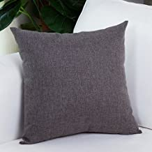 "MochoHome Decorative Linen Solid Square Euro Throw Pillow Cover Case Pillowcase Cushion Sham - 24"" x 24"", Dark Grey"