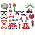 24-Piece Photo Booth Props - Patriotic Party Props, Selfie Props, Photo Booth Accessories, Photo Booth Kit for 4th of July