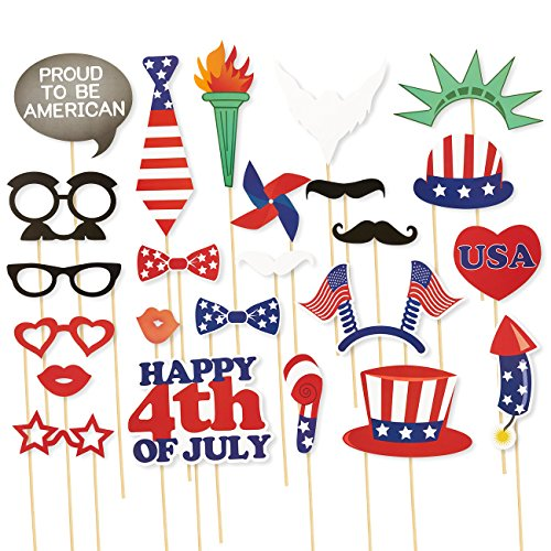 24-Piece Photo Booth Props - Patriotic Party Props, Selfie Props, Photo Booth Accessories, Photo Booth Kit for 4th of (Deely Boppers)