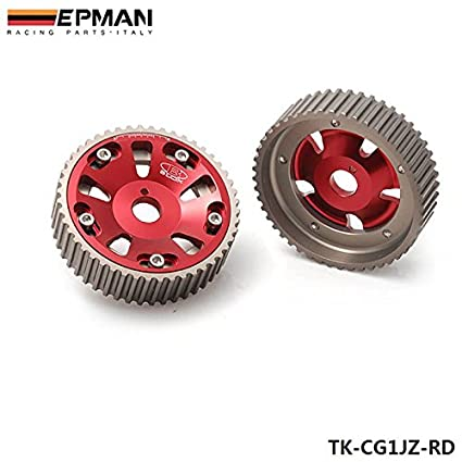 EPMAN Adjustable Aluminum Engine Motor Single Cam Shaft Gear Wheel Sprocket For TOYOTA Supra 1JZ 2JZ TE (Red, Pack Of 2) RUIAN EP INTERNATIONAL TRADE CO. LTD