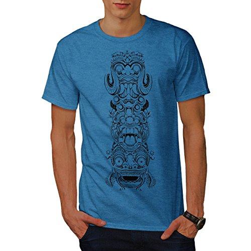 wellcoda Spiritual Totem Fashion Mens T-Shirt, Bali Graphic Design Print Tee Royal Blue S