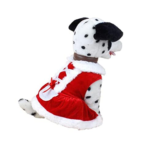 lngry puppy female pet dog christmas dress clothes doggy costumes pet apparel red xs