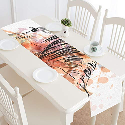 WIEDLKL Colored Hand Sketch Horses Behind Table Runner Kitchen Dining Table Runner 16x72 Inch for Dinner Parties Events Decor