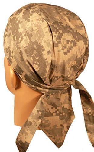 Elk Tie Backs (Made in USA America Digital ACU Camo Camoflauge Headwrap Durag Doo Rag Skull with Sweatband)