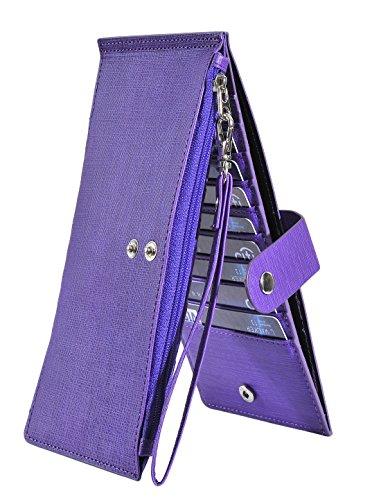 C&c Purse Zipper (Women's Leather Card Case Holder Wallet Rfid Trifold Thin Zipper Wallet Purse (C Style - Purple))