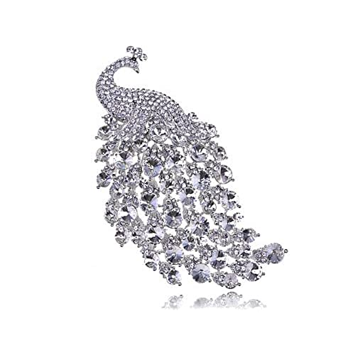 Alilang Silvery Tone Clear Crystal Colored Rhinestones Peacock Bird Brooch Pin